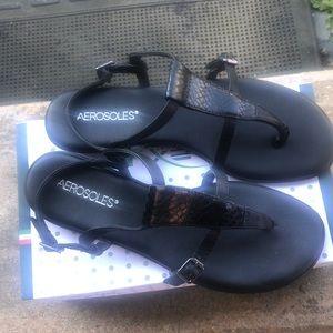 Aerosoles sandals, black size 9, never worn!